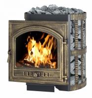 Банная чугунная печь-камин Везувий: легенда 28 ковка дверка 205